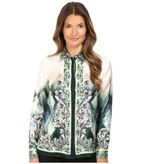 Versace Long Sleeve Printed Blouse Teal White Women's Blouse Blue