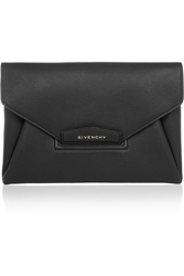 Givenchy Antigona Envelope Clutch In Black Grained Leather