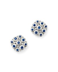 Judith Ripka Sterling Silver Snowflake Stud Earrings With Sapphire Blue Silver