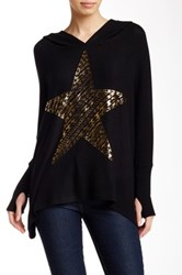 Lauren Moshi Wilma Oversized Hooded Star Pullover Black