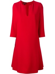Giambattista Valli Three Quarter Sleeve A Line Dress Red