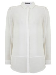 Mint Velvet Shadow Stripe Blocked Shirt Ivory