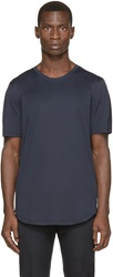Helmut Lang Navy And Black Faux Leather T Shirt