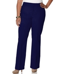 Jm Collection Plus Size Twill Straight Leg Trousers Navy