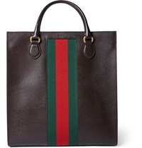 Gucci Stripe Trimmed Leather Tote Bag Brown