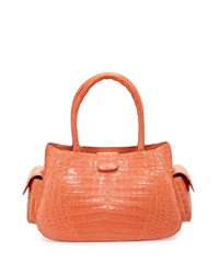 Nancy Gonzalez Small Crocodile Satchel Bag Peach