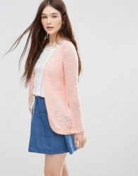 Only Popcorn Textured Cardigan In Peach Peach Melba Pink