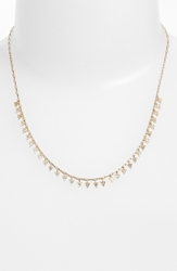 Melinda Maria 'Pyramid Mini Fringe' Frontal Necklace Gold Clear