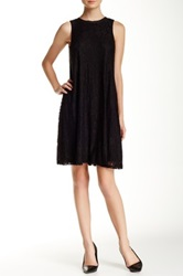 Taylor Pleather Trim Sleeveless A Line Lace Dress Black