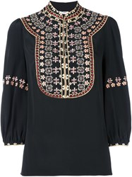 Vilshenko Embroidered Bib Blouse Black