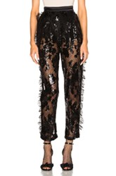 Rodarte Sequin Trousers With Side Seam Ruffle Detail In Black