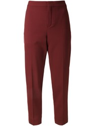 Chloe Straight Leg Cropped Trousers Red