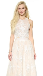 Alice Olivia Blythe Lace Fitted Crop Top White Nude