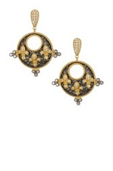 Freida Rothman 14K Gold And Rhodium Plated Sterling Silver Cz Triple Fleur De Lis Earrings Metallic