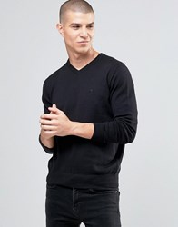 Armani Jeans Jumper With V Neck And Logo In Black Black