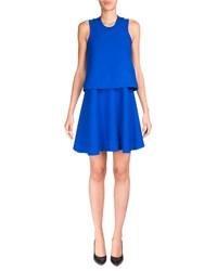 Carven Sleeveless Satin Popover Dress Royal Blue Bleu Roy