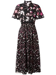 Giamba Floral Print Long Dress Black