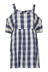 Topshop Petite Gingham Smock Dress Blue