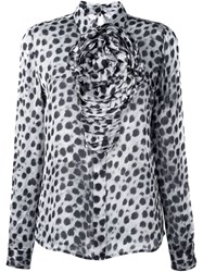Blumarine Animal Print Ruched Shirt Grey