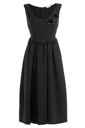 Fendi Embellished Wool Silk Cocktail Dress Black