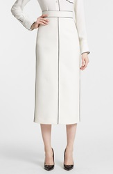 Valentino Contrast Piping Wool And Silk Pencil Skirt Ivory Black