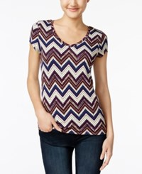 Energie Juniors' Mila Printed V Neck T Shirt Aztec Pop