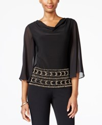 Msk Beaded Cowl Neck Blouse Black