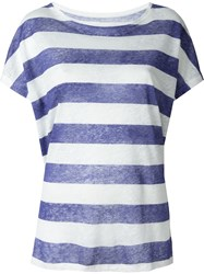 Majestic Filatures Striped T Shirt Blue