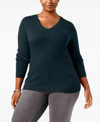 Charter Club Plus Size Cashmere V Neck Sweater Only At Macy's Admiral Navy
