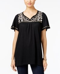 Styleandco. Style Co. Embroidered Flutter Sleeve Top Only At Macy's Femme Black