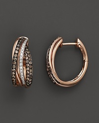 Bloomingdale's Brown And White Diamond Crossover Earrings In 14K Rose Gold .70 Ct. T.W. Multi
