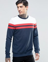 Another Influence Block Panel Sweater Navy