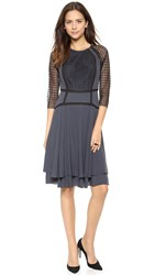 Rebecca Taylor Crepe Dress With Lace Trim Storm Grey