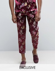 Reclaimed Vintage Brocade Trousers Burgundy Red
