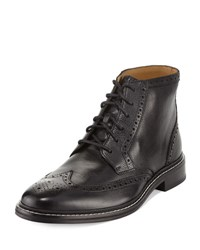 Cole Haan Williams Brogue Wing Tip Leather Boot Black