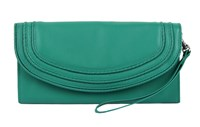 Dents Ladies Flap Over Purse With Handle Jade
