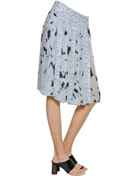 Proenza Schouler Printed Pleated Silk Chiffon Skirt
