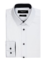 Kenneth Cole Men's Daven Slim Fit Shirt With Contrast Detail White