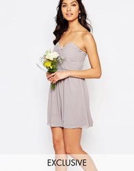 Tfnc Wedding Bandeau Chiffon Mini Dress Opal Gray