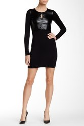 Fate Long Sleeve Faux Leather Contrast Dress Black