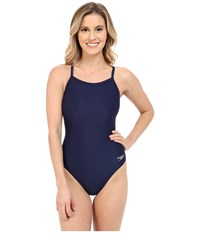 Powerflex Eco Solid Flyback One Piece Speedo Navy Women's Swimsuits One Piece Blue