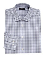 Theory Dover Plaid Dress Shirt Victory Multi