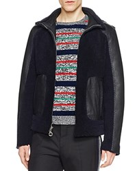 Carven Reversible Shearling Bomber Jacket Marine