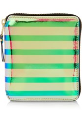 Comme Des Gara Ons Striped Iridescent Leather Wallet
