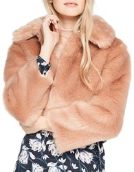 Miss Selfridge Faux Fur Jacket Pink