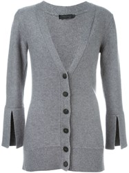 Calvin Klein Collection Buttoned V Neck Cardigan Grey