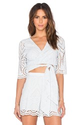 Zimmermann Epoque Broderie Flutter Wrap Top Baby Blue
