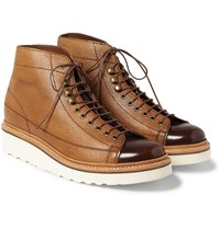 Grenson Andy Panelled Leather Boots Tan