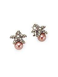 Heidi Daus Faux Pearl Crystal Starfish Earrings Gold