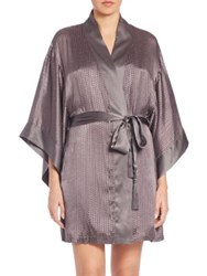 Josie Natori Textured Silk Blend Wrap Robe Gunmetal